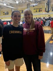 Patty Mioli, right, poses with her daughter Annie Mioli  at a Cresskill basketball game.