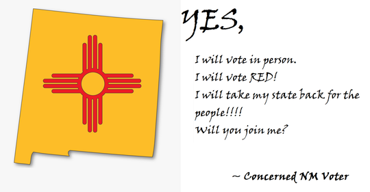 """An image shared on the Doña Ana County Republican Party's home page and Facebook platform encourages voters to pledge to """"vote in person."""""""