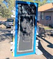 Giant community chalkboard in the Peace Garden.
