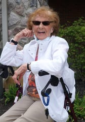 Joan Morgan, 94, smiles outside her Abbey Park residence on May 7, 2020.