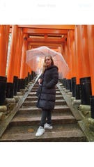 Kayla Perez poses at the Fushimi Inari Taisha shrine in Kyoto, Japan in late January 2020.