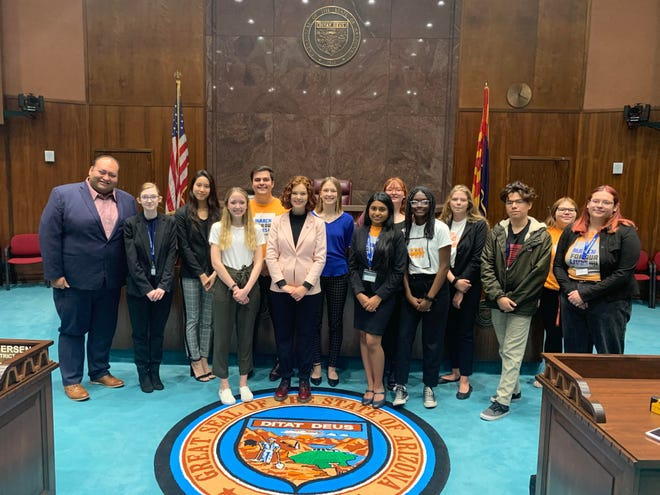 Induja Kumar (center) joins her fellow student organizers with March for Our Lives Arizona during a lobbying day on Jan. 27, 2020, at the Arizona Legislature. The students pushed for a bill to provide more mental health support in school.