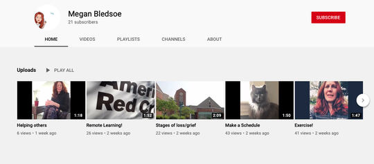 In this screenshot from Megan Bledsoe's YouTube channel, the Discovery Middle School counselor shares lessons with students about the importance of exercise, keeping a schedule and processing grief.