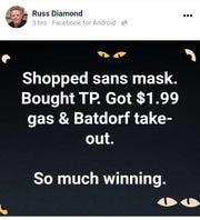 A screenshot of Russ Diamond's Facebook post.