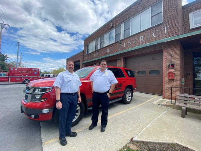 Capt. Timothy Gilnack (left) poses for a portrait with Fire Chief Christopher Maeder in front of the Fairview Dire District's station in Poughkeepsie on May 7, 2020.