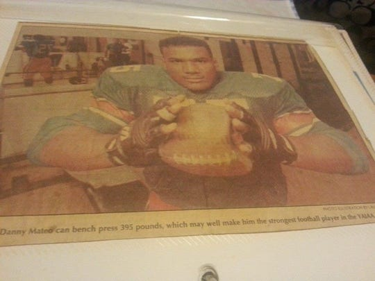 Danny Mateo's family saved a York Dispatch photo that ran on Oct. 1, 1992, when he was a junior at William Penn Senior High School and a star football player.