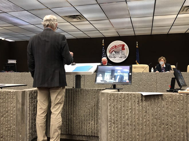 Wayne County Health Officer Dr. David Jetmore talks to the Wayne County commissioners about the syringe exchange program on Wednesday, May 6, 2020.