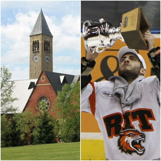 Cornell University, left, and the Rochester Institute of Technology are being sued by students seeking partial refunds.