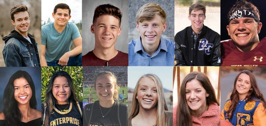 Twelve high school seniors have been chosen as finalists for the 2020 Scholar-Athlete program. The top girl and top boy will be announced May 14. The students are, top row, left to right, Jackson Beasley, Jacob Johnston, Maximus Hamilton, Luke Bland, Jackson Black and Bryan Miller. Bottom row, left to right, are Savannah Leak, Natayah Saetern, Madison Steele, Ashley Davies, Courtney Jones and Natalie Osborne.