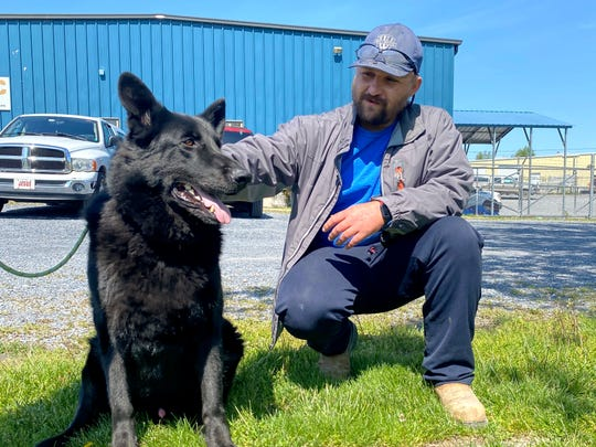 Cavaja Holt helped save Jett's life Wednesday. The German Shepherd was choking on a ball until Holt pulled it out and gave the dog mouth-to-mouth resuscitation.