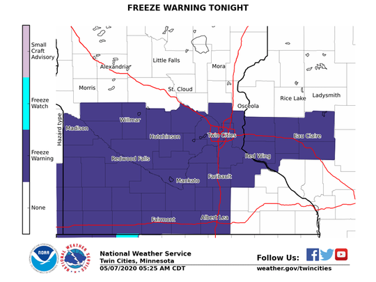 National Weather Service freeze warning for early morning Friday, May 8, 2020.