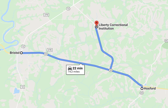 A Google Maps screenshot of the distance between Bristol, Hosford and Liberty Correctional Institution in Liberty County, FL. Liberty County had 114 confirmed cases of the coronavirus on May 7, 2020, according to the Florida Department of Health.
