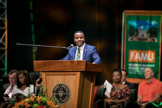 Florida A&M University graduate Rochard Moricette, speaking during the fall 2019 homecoming convocation.