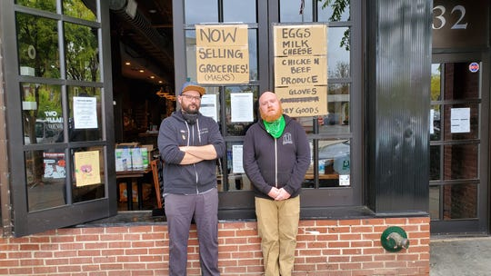 Jonathan Fernandez, left, and Sean Stampfl, right, the co-owners and brewmasters behind Two Villains Brewing in Nyack are now selling groceries along with beer.