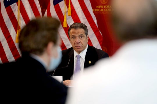 New York State Governor Andrew Cuomo gives his daily coronavirus press briefing at New York Medical College on the campus of the Westchester Medical Center in Valhalla May 7, 2020.