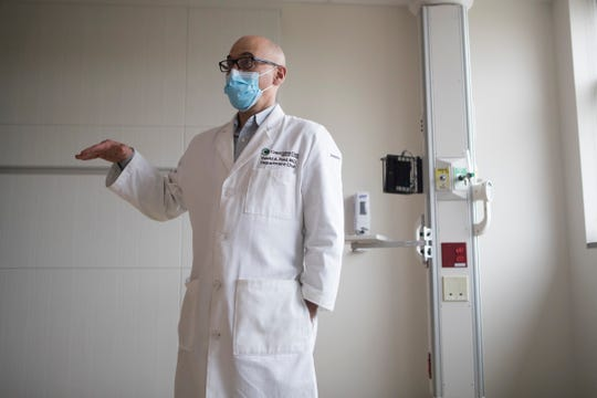 Dr. David Paul, chair of the Department of Pediatrics at ChristianaCare gives a tour of ChristianaCare's new  Center for Women & Children's Health at their campus in Newark Wednesday, May 6, 2020.