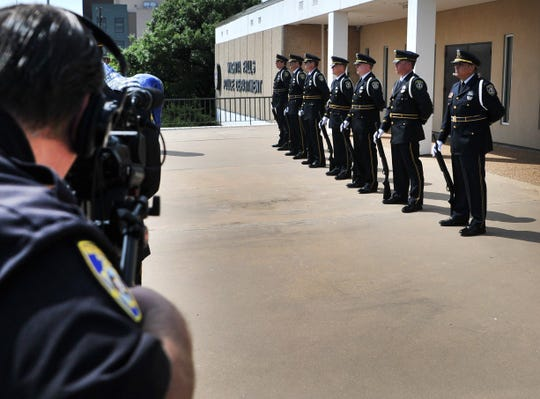 The Wichita Falls Police Department Honor Guard provided the 21 Gun Salute Thursday morning for video production the department was shooting to provide to the public instead of having the live event.