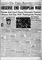 The May 9, 1945 edition of the Zanesville Times Recorder.