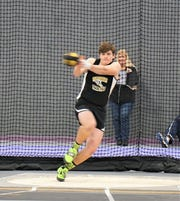 Tri-Valley's Jake Priest competes during an indoor track meet. Priest will join his sister, Annie, on the Marietta College track and field team.