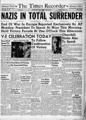 The May 8, 1945 front page of the Zanesville Times Recorder.