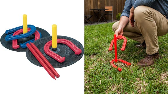 This set of horseshoes are safer and lighter than traditional sets.