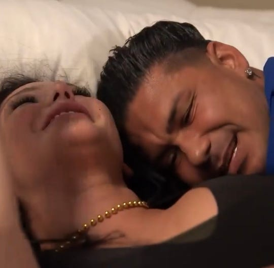 """JWoww and Pauly D in bed from the May 7, 2020 episode of """"Jersey Shore Family Vacation."""""""