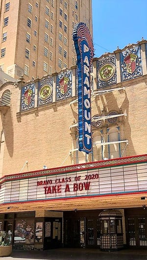The Paramount Theatre marquee is set up for senior photo ops.