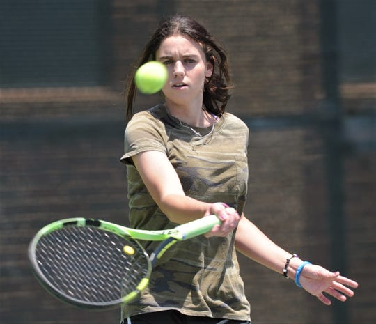 Abilene High senior McKenna Bryan eyes the ball during a tennis lesson Thursday at Rose Park Tennis Center.