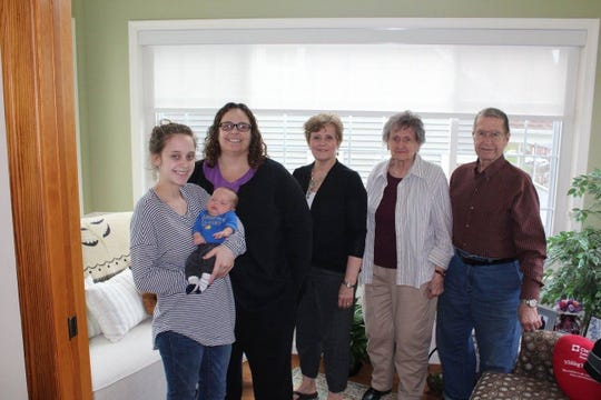 From left: Kali Little holding her son, Tanner, Carrie Little, Linda Macbeth, Helen Bennet, Rich Bennet.