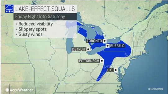 Lake-Effect now squalls will occur from Friday night into Saturday.