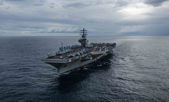 The U.S. Navy's forward-deployed aircraft carrier USS Ronald Reagan cruises during the exercise Talisman Sabre 2019. The warship recently left Yokosuka for sea trials.