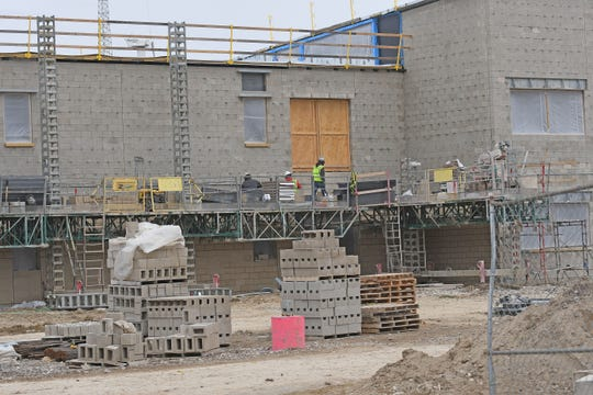 Construction work continues on the new Wynford junior high and high school building earlier this spring.