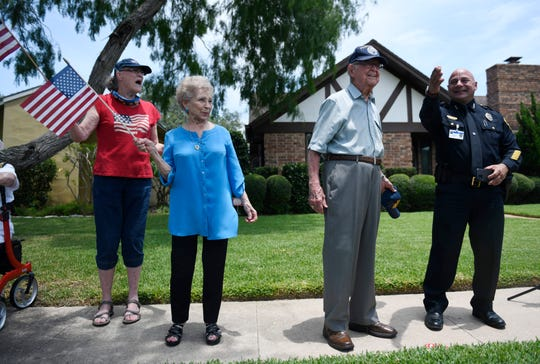 Bob Batterson receives a surprise parade for his 99th birthday, Friday, May 8, 2020. Batterson is a World War II veteran and Pearl Harbor survivor.