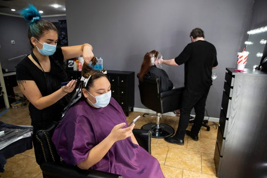 Kosmo Salon reopens for business on Friday, May 8, 2020. Barbershops and nail salons reopened on Friday, May 8, 2020 as part of Texas Gov. Greg Abbott's plan to reopen after coronavirus closures.