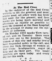 An article from the Oct. 2, 1918 Gazette that talks about how the Red Cross is in need of face masks.
