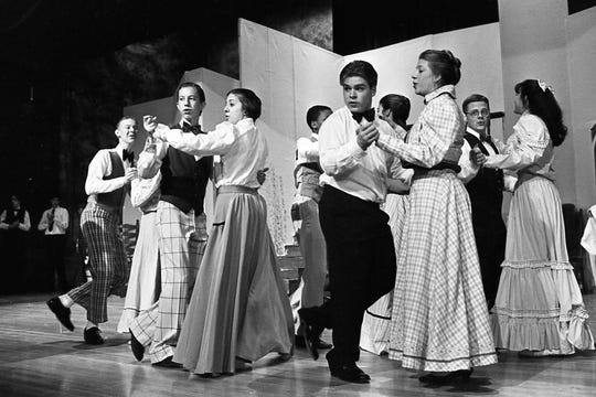 "Performers sing and dance during a rehearsal for Chillicothe High School's production of ""Meet Me in St. Louis"" lin 1995."