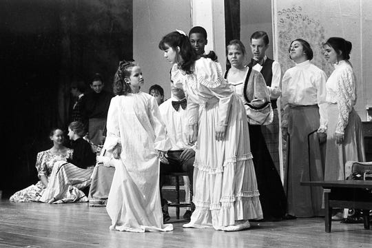 "Bethany MacCarter as Tootie, talks with Kristin Beard, in the lead as Esther during a rehearsal for ""Meet Me In St. Louis."" Chillicothe High School put on a production of ""Meet Me in St. Louis"" as its spring musical in 1995."