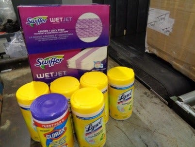 U.S. Customs and Border Protection officers in Cincinnati found four pounds of marijuana hidden inside disinfecting wipe canisters and other cleaning products on May 6.