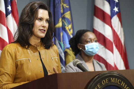 Gov. Gretchen Whitmer speaks at a news conference on update of Michigan's response to the coronavirus pandemic Thursday, May 8, 2020. Michigan Health and Human Services Chief Medical Executive Dr. Joneigh Khaldun also spoke.