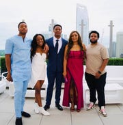 The Okwara family, from left: Detroit Lions defensive end Romeo Okwara, sister Adaeze, brother Julian, mother Melda and brother Jimel.