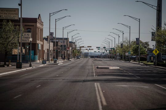 This Friday, May 1, 2020 photo shows a street in Gallup, N.M., following the governor's order to go in lockdown.