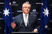 Australian Prime Minister Scott Morrison speaks to the media during a press conference at Parliament House in Canberra, Friday, May 1, 2020.