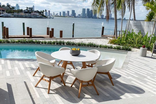 White continues to gain traction in outdoor style. White sculptural seats and tabletop pop on teak frames with the new Santorini collection from Kannoa. The seats are upholstered in outdoor commercial marine-graded fabric. The tabletop is ultra-durable high-pressure laminate.