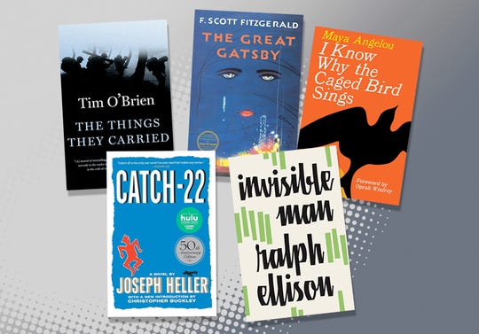 """The list of books that could be banned by Alaska's Matanuska-Susitna Borough School District includes F. Scott Fitzgerald's """"The Great Gatsby,"""" Joseph Heller's """"Catch-22,"""" Maya Angelou's """"I Know Why the Caged Bird Sings,"""" Ralph Ellison's """"Invisible Man,"""" and Tim O'Brien's """"The Things They Carried."""""""