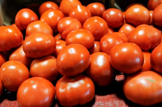 Ripe tomatoes from the greenhouse at Mayse Farm Market.