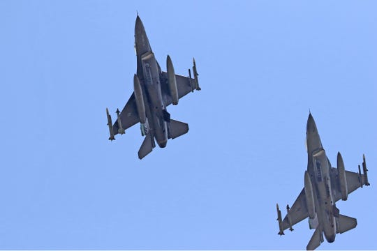 Two F-16s from the Toledo Air National Guard 180th Fighter Wing flew over Fremont Memorial Hospital on Thursday afternoon. The flyover serves as a salute to Ohio's frontlind COVID-19 responders.