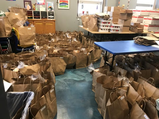 Meal kits ready for Door County families to pick up for extra food help over the weekend.