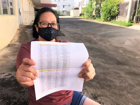 Margaret Huang, 45, of Maite, shows a printed version of the Excel file she created of Guam restaurants that offer take-out services.