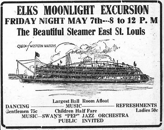 The five-deck steamboat East St. Louis visited Henderson May 7, 1920, to provide a moonlight cruise for the public, courtesy of the Elks Lodge. It was the second year the Elks brought the steamer here, and they continued to offer moonlight cruises -- although with different steamboats --  throughout the summer.