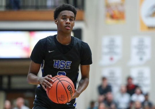 """Hamilton Southeastern's guard Kole Hornbuckle's mom, Mi Mi, never missed a game. """"It meant a lot to be able to look up into the stands and see her there,"""" he said."""